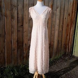 Vintage Johnny Was Beaded Tea Length Dress XS